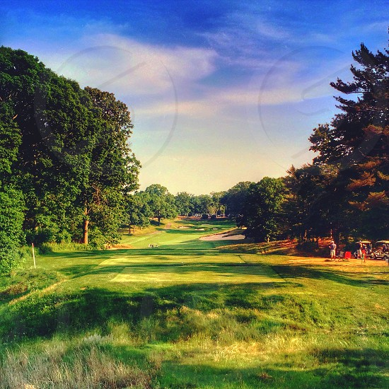 Tee box on hole #18 at Bethpage Red Golf Course. Bethpage NY. photo