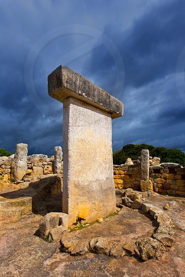 Menorca Taules Torralba de en Salort Salord prehistoric sanctuary in Balearic islands photo