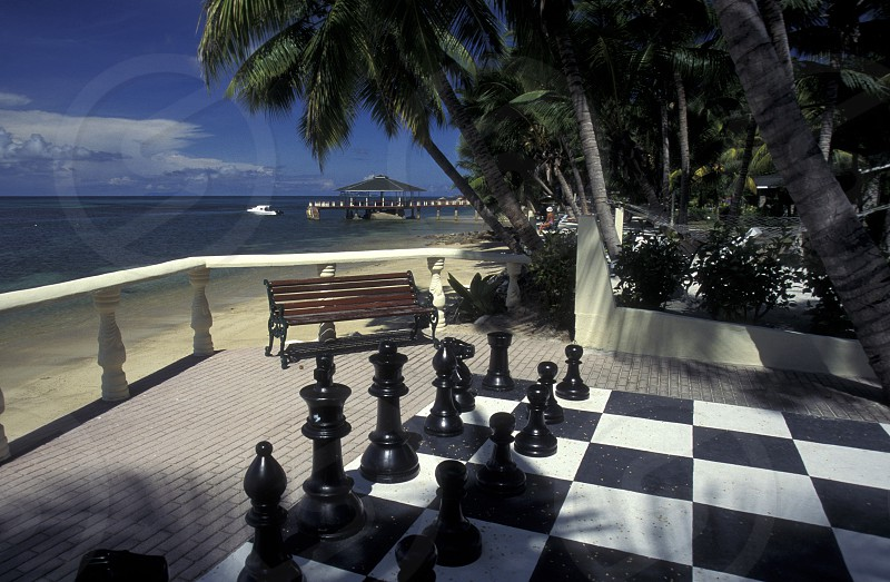 a chess ground on a Beach on the coast if the Island La Digue of the seychelles islands in the indian ocean photo