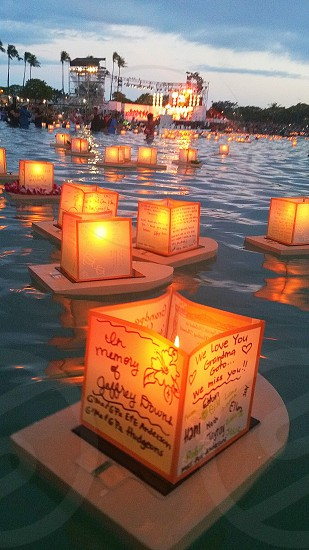 Memorial Day Lantern Floating Ceremony in Honolulu Hawaii. photo