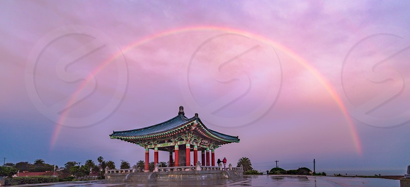 Full rainbow over Korean Friendship Bell in San Pedro CA photo