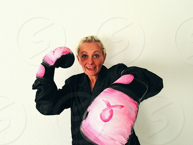 woman in boxing gloves photo