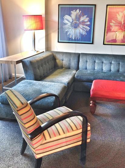 black cushion couch photo