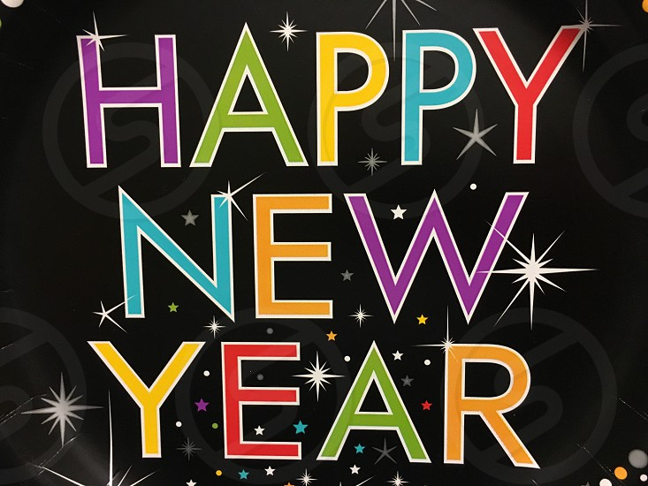 happy new year text with black background photo