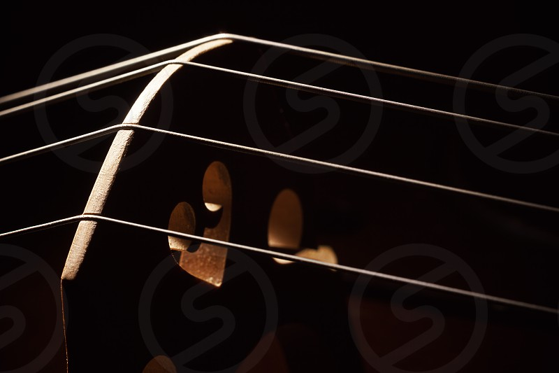 Closeup view of an old dusty cello accentuated shapes with light.  photo
