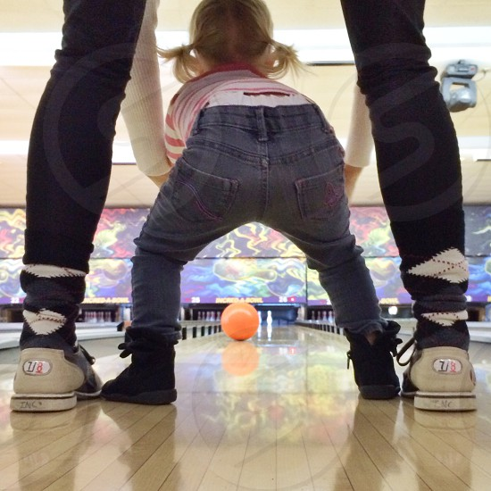 Mother daughter bowling family fun cute photo