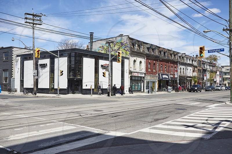 Shops and restaurants along West Queen West Toronto photo