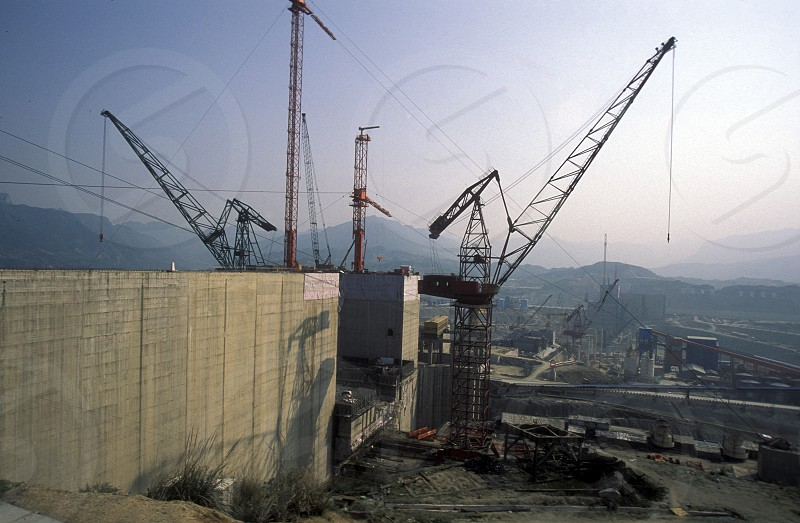 the constructions work at the three gorges dam project on the yangzi river in the province of hubei in china. photo
