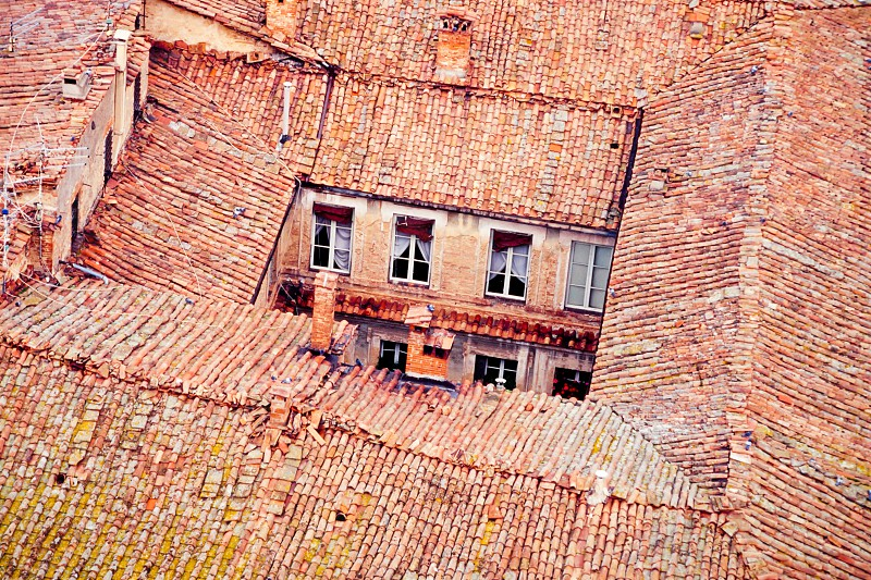 Backyard and roof-tops in old medieval town of Siena Tuscany Italy Europe photo