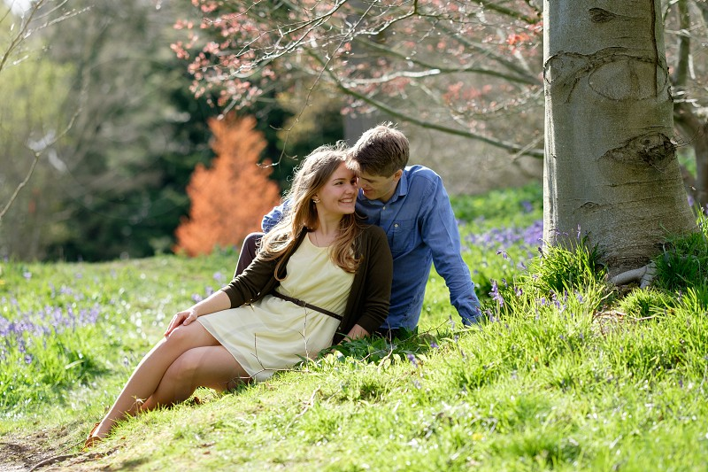 romantic couple sitting and cuddling in the woods in the spring  with purple coloured blue bell flowers and orange leafed tree out of focus behind them she is wearing a yellow dress and brown cardiganhe is wearing a blue shirt and grey trousers. The photo is taken in a landscape composition with copy space around the couple. photo