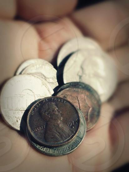 Pocket change.  Broke.  Down to Last Dimes.  Money Management. photo