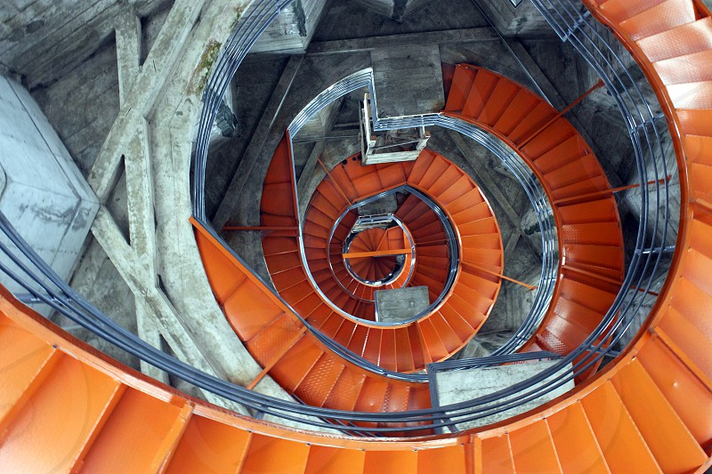 orange spiral staircase photo