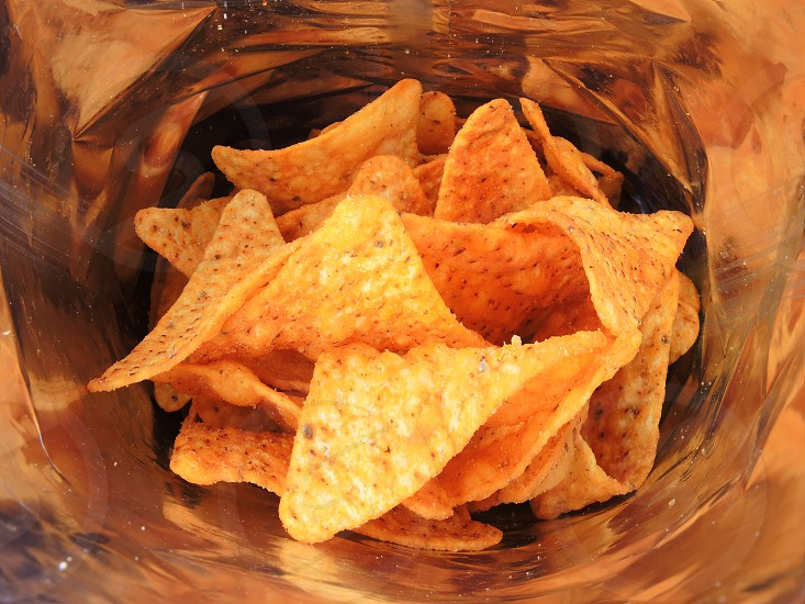 chips on clear glass container photo