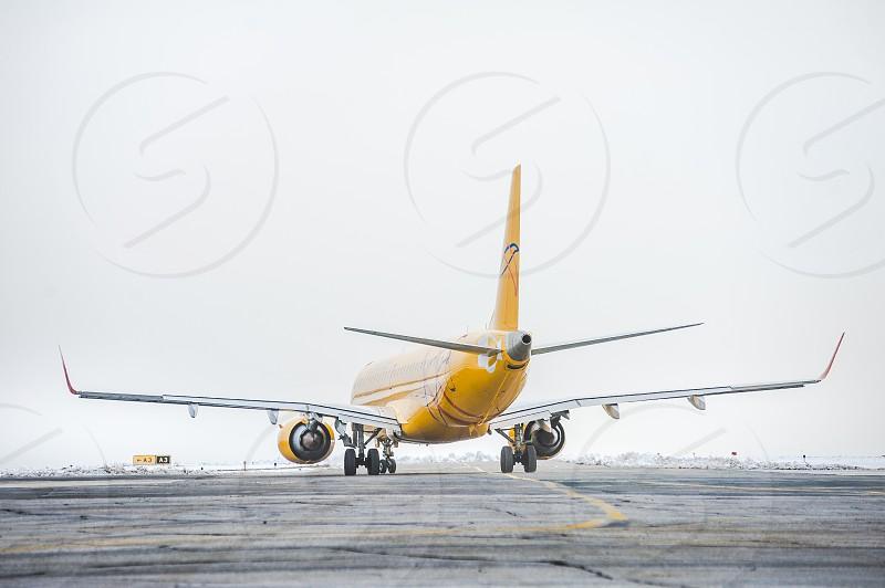 "Aircraft ""Embraer"" on takeoff. Saratov Russia photo"