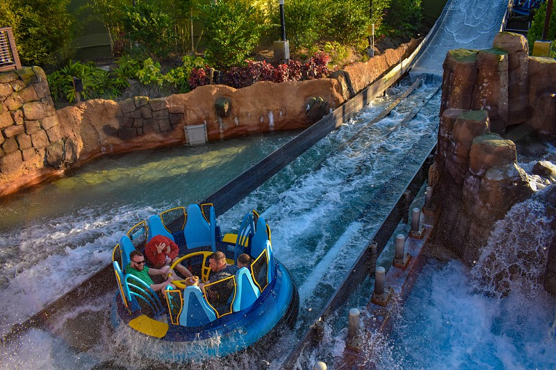 Orlando Florida. March 09 2019. People enjoying water attraction Infinity Falls  at Seaworld in International Drive area. photo