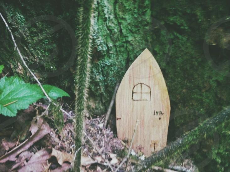 brown wooden triangular board beside green mossy rock photo