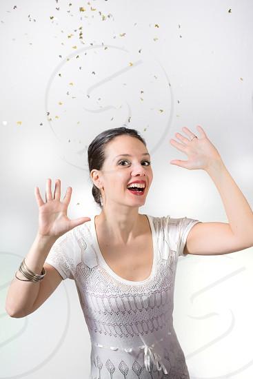 Spanish girl with confetti 2 photo
