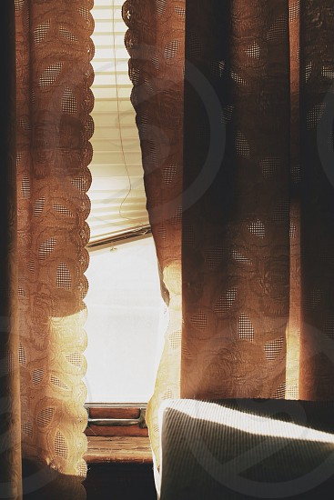 white paisley patterned curtains photo