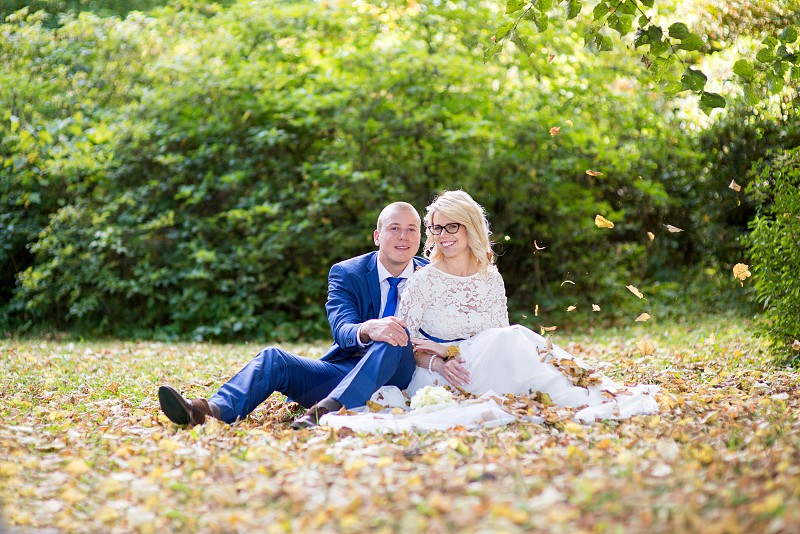 Happy young bride and groom on their wedding day. Wedding couple - new family! wedding dress. Bridal wedding bouquet of flowers photo