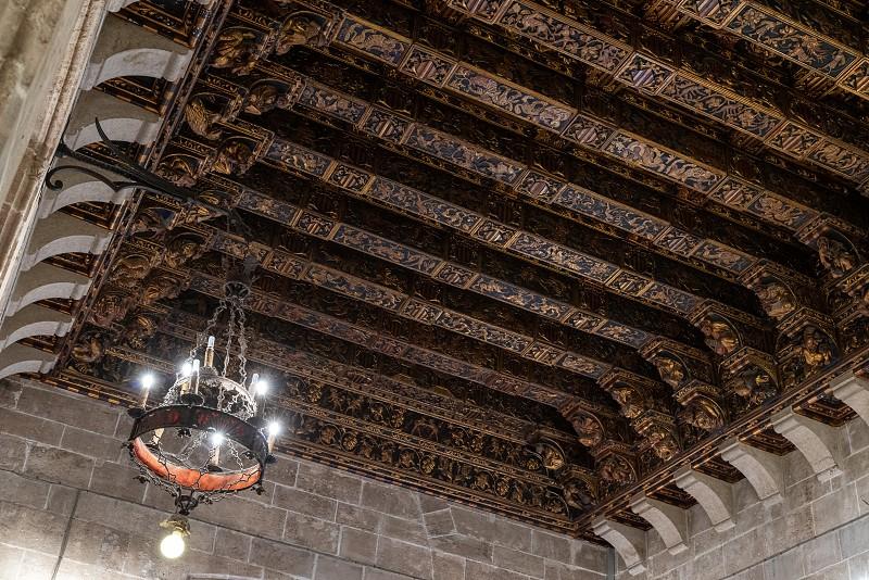 VALENCIA SPAIN - FEBRUARY 27 :  Ornate ceiling of the Silk Market in Valencia Spain on February 27 2019 photo