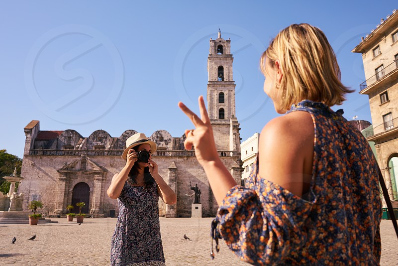 picture; camera; snapshot; portrait; women; girls; friends; people; tourists; 20s; beautiful; copy; space; couple; cuba; cuban; enjoy; excursion; female; friendship; fun; girl; happy; havana; habana; hispanic; journey; joy; leisure; monument; outdoors; persons; smile; smiling; tourism; tourist; travel; traveling; trip; woman; young; photo; photography; holidays; vacations; photograph; souvenir; cathedral; church; square photo