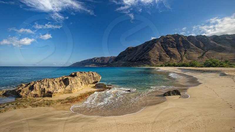 Beach paradise tourism Oahu Hawaii makua valley  photo