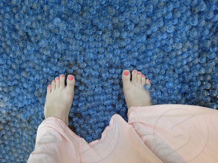 colours feet blue glass photo