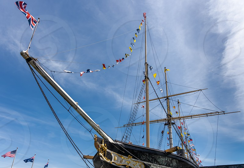 BRISTOL UK - MAY 14 : View of the SS Great Britain in dry dock in Bristol on May 14 2019. Two unidentified people photo