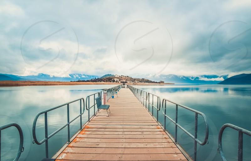 Floating Bridge Leading On A Small Island Agios Achilios At Prespes Lake Florina Region In Greece photo