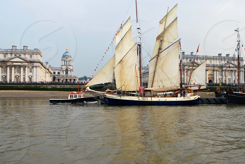 Tall Ship on River Thames Greenwich London photo
