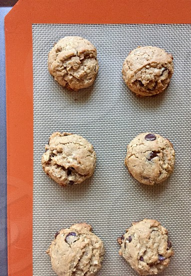 Oatmeal chocolate chip oatmeal cookies on a nonstick baking mat photo