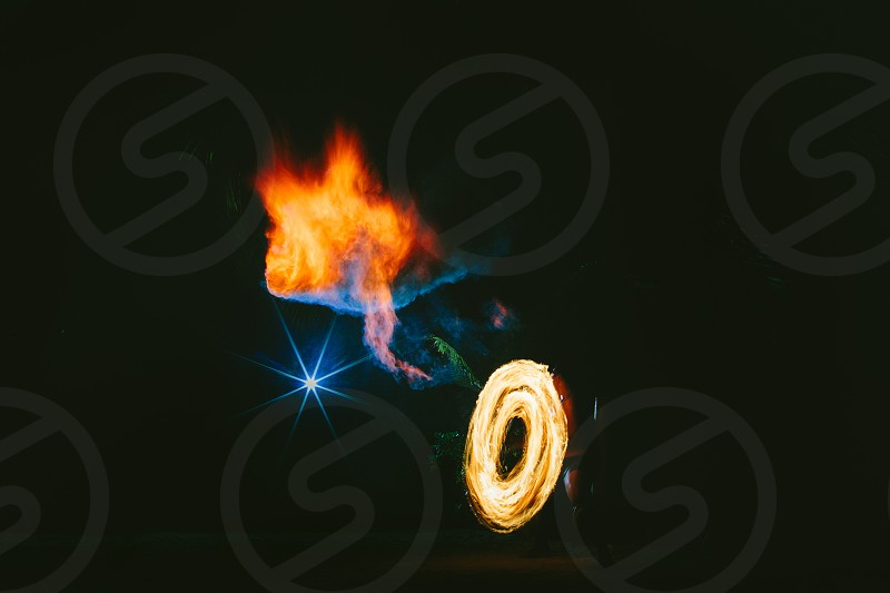 fire smoke colored smoke fire dancer flash star night smoke bomb fume bomb fire dark recreation entertainment south pacific fiji tribal  photo