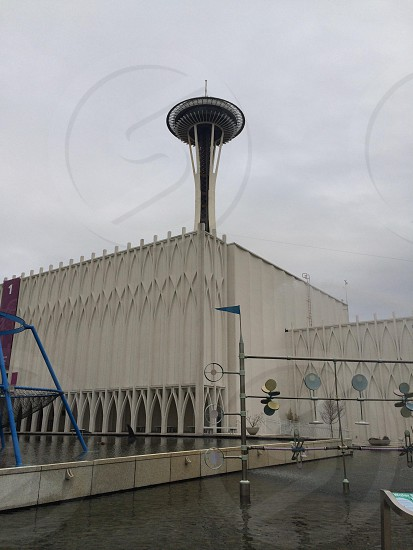 The Space Needle from the Pacific Science Center - Seattle WA.  photo