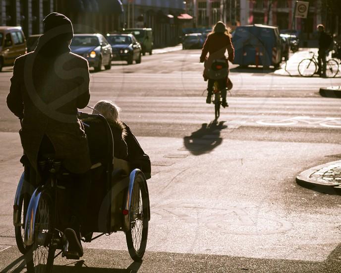 urban sunset bikers photo