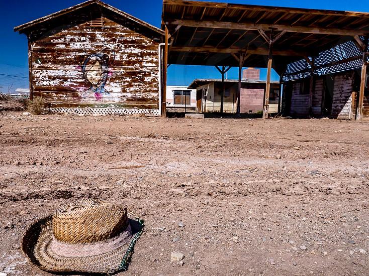 cowboy wild west abandoned dirt hat  photo
