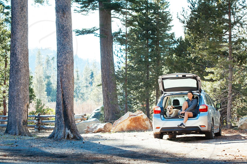 Enjoying the outdoors in Lake Tahoe with her dog. Preparing to go on a run in the forest. photo