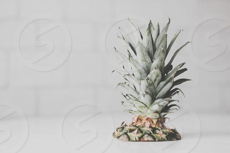 Fresh pineapple on table photo