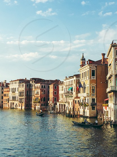Italy Venice boats canal water buildings architecture  photo