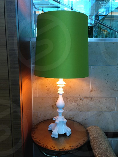 Green lampshade white lamp light lighting  photo