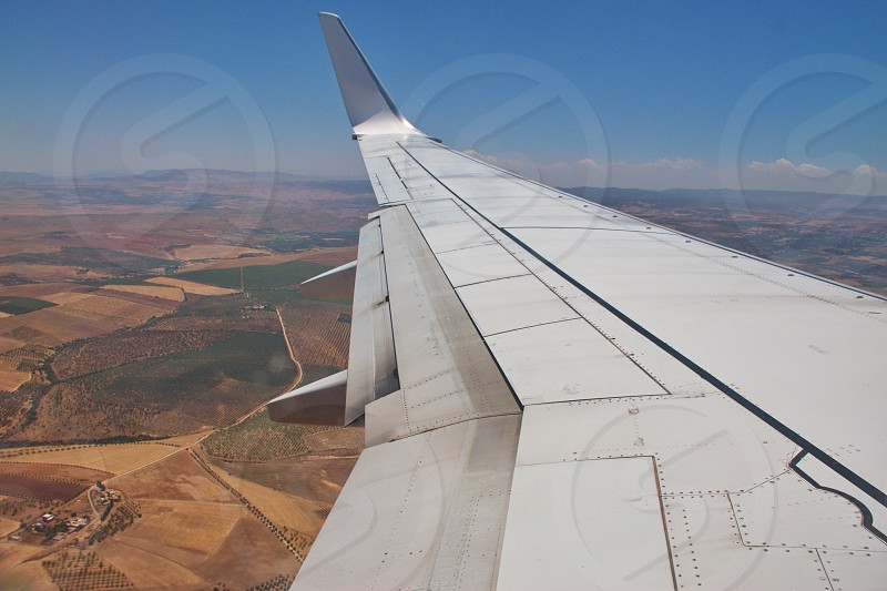 Areal view from the plane flying over Morocco photo