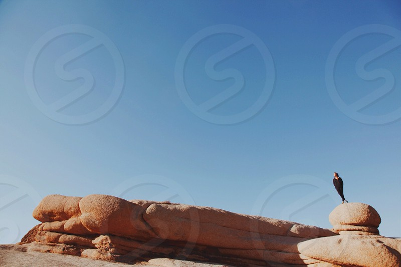 woman standing on rock formation photo
