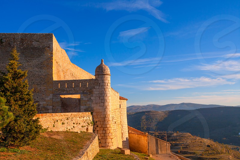 Morella in castellon Maestrazgo castle fort at Spain photo
