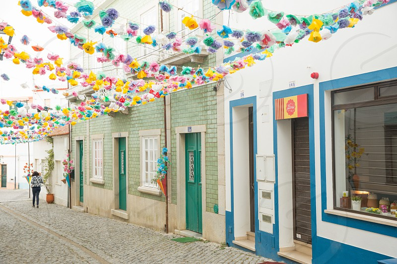 Portugal Odeceixe paper flowers spring colors festival colorful travel photo