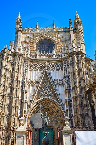 Seville cathedral Saint Christopher door Sevilla Andalusia Spain photo