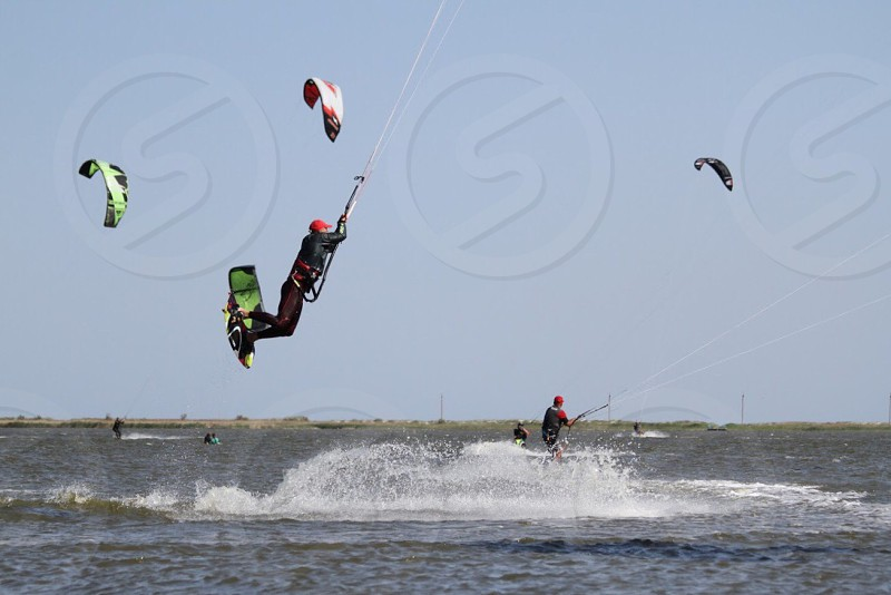 Freedom lifestyle happy water activity extreme sport kitesurfing enjoy emotions  photo
