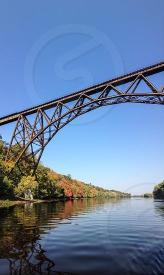High bridge over St Croix River. Railroad bridge. Fall colors  photo