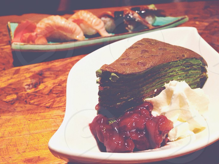 matcha crepe; red bean; sushi; good eats photo