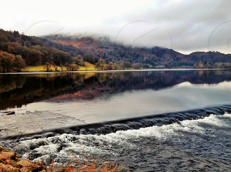 The beautiful Autumn colors of the lakes in England photo