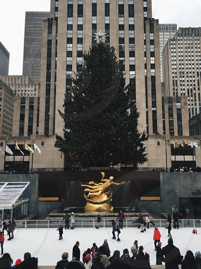 Christmas winter people Rockefeller plaza Rockefeller center photo