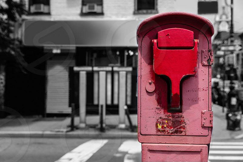 Brooklyn old Fire Alarm in red in Greenpoint New York NY USA photo
